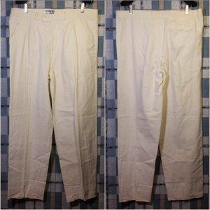 VTG Linen Cotton Blend Pants Trousers Pleated EUC